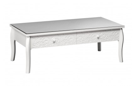 Chamonix Coffee Table Drawer White MDF/Glass Top