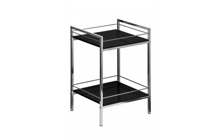 Shelf Unit 2 Tier Black High Gloss Chrome Finish Frame