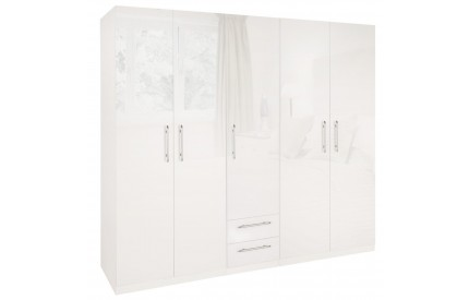 Charms High Gloss White 5 Door 2 Drawer Wardrobe