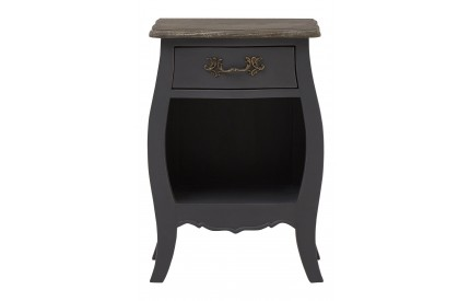 French Bedside Cabinet 1 Shelf Dark Grey Bayur Wood