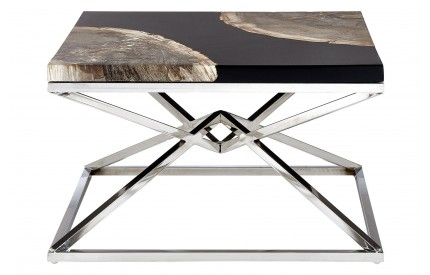 Newcity Coffee Table Petrified Wood Black Resin