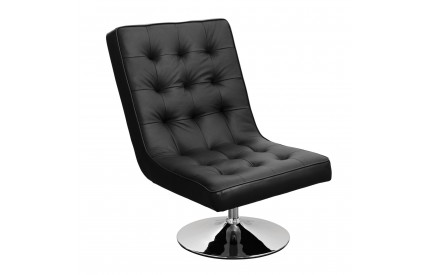Madrid Chair Black Leather Effect Swivel Chrome Finish Base