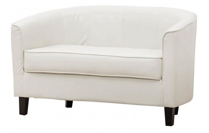 Leather Tub Sofa 2 Seater Sofa Cream