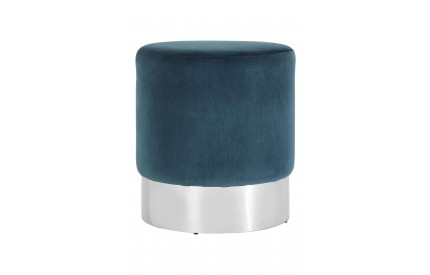 Pose Round Stool Teal Velvet Stainless Steel Base