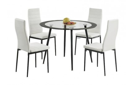 Anaco Dining Table Clear Glass & Black