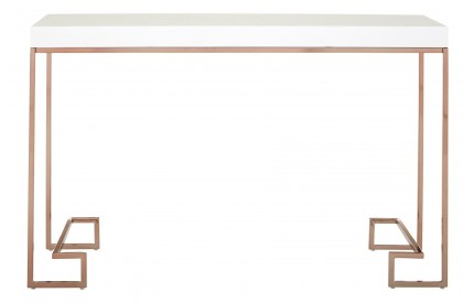 Premium Console Table White High Gloss Rose Gold Legs