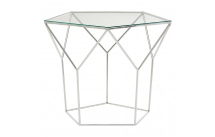 Kashti Pentagonal Coffee Table Clear Tempered Glass Stainless Steel Legs