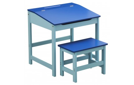 Child's Desk and Stool Blue