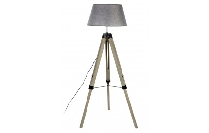 Harper Floor Lamp Grey Wood Tripod Grey Shade / UK Plug