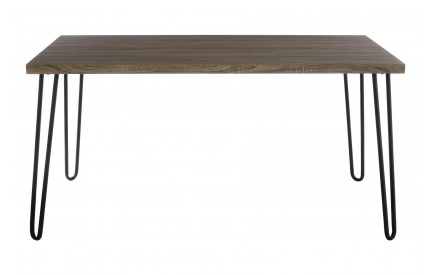 Borough Dining Table Faux Wood Veneer Matte Black Legs