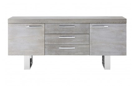 Sideboard Grey Elm Wood Stainless Steel Legs