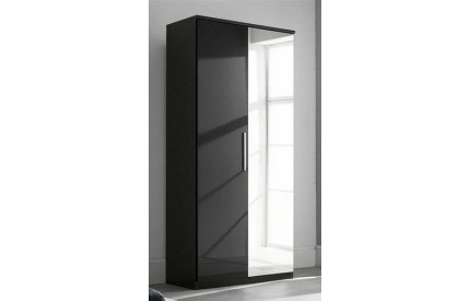 Topper High Gloss Black Wardrobe 2 Door Mirror