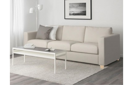 Cream Leather 3 Seater Sofa