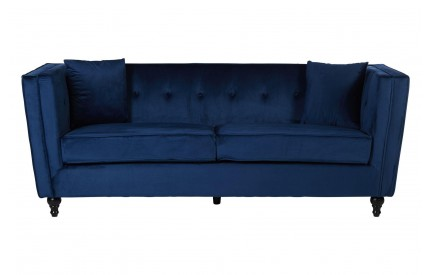 Bueler 3 Seat Sofa Navy Velvet Navy Piped Trim