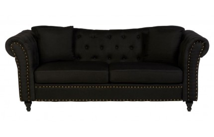 Fargo Chesterfield Sofa Black Fabric / 3 Seat Stud Detail