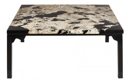 Newcity Coffee Table Cheese Stone / Black Resin Powder Coated Iron Base