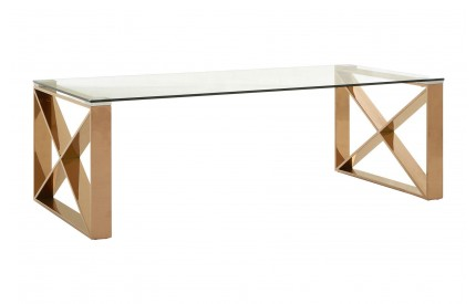 Allure Coffee Table Clear Glass Rose Gold Legs