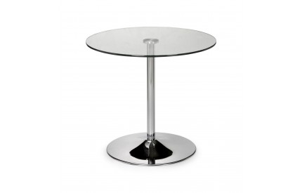 Kudos Chrome & Glass Pedestal Dining Table