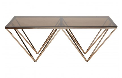 Allure Coffee Table Amber Smoked Glass Champagne Metal Legs