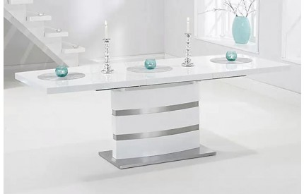 High Gloss Extending Dining Table White & Black