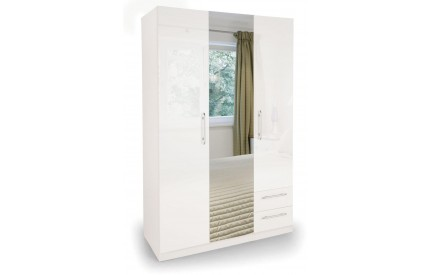 Charms High Gloss White 3 Door 2 Drawer Mirror Wardrobe