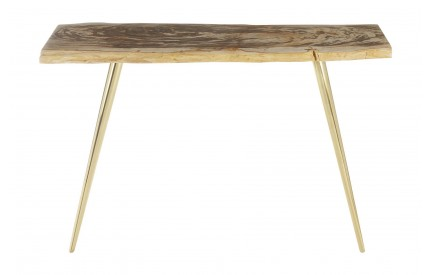 Newcity Console Table Petrified Wood Iron Brass Finish Legs