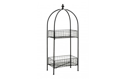 New York Loft 2 Tier Stand Distressed Black Metal