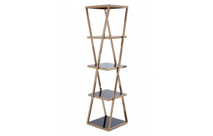 Ackley Shelf Unit Black / Rose Gold Finish