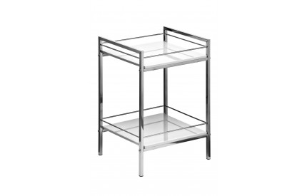 Shelf Unit 2 Tier White High Gloss Chrome Finish Frame