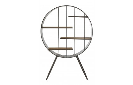 Trinity Round Shelf Unit Fir Wood Metal