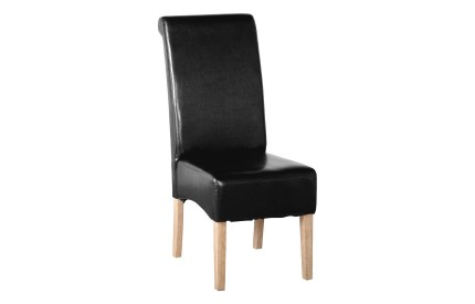 Padded Leather Dining Chair Solid Oak Legs
