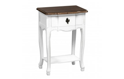Serena 1 Drawer Table White / Dark Paulownia Wood Distressed Finish