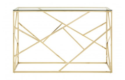 Premium Console Table Clear Glass Champagne Gold