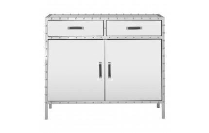 Riveted Full Stainless Steel Mirrored Glass Sideboard