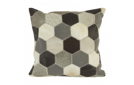 Lauren Cushion Cover Genuine Cowhide Leather Black / White / Grey Patchwork