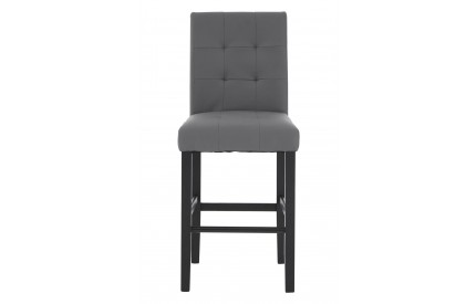 Mayfair Bar Chair Grey Leather Effect Black Tropical Hevea Wood Legs