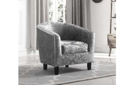 Crushed Velvet Tub Chair Silver