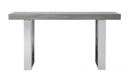 Console Table Grey Elm Wood Stainless Steel Legs