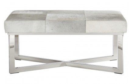 Leather Bench Stainless Steel Frame Buckingham Townhouse