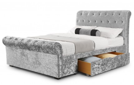 Verona 2 Drawer Storage Bed Silver Crush Velvet