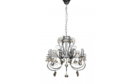 Dana Chandelier Chrome Iron Frame/Crystal 6 Arm