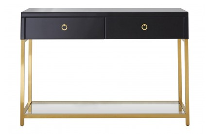 Buckingham Townhouse Console Table Black Glass / Gold Frame MDF  Stainless Steel  Tempered Glass