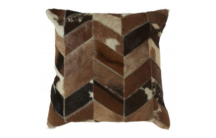 Lauren Cushion Cover Genuine Cowhide Leather Natural Patchwork