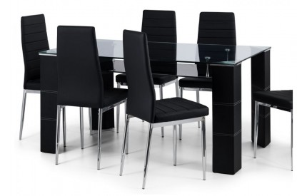 Clear Glass Dining Table & 6 Chairs