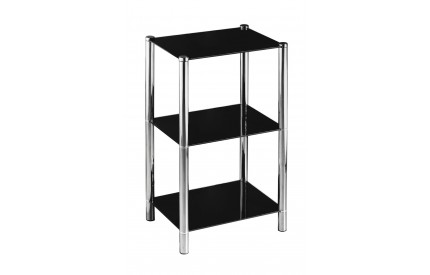 Shelf Unit 3 Tier Black Glass Chrome Finish Legs