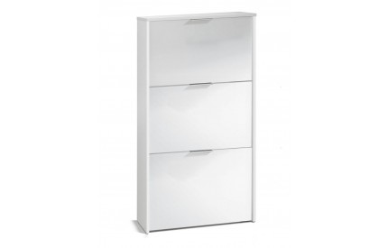 Pacific Shoe Cabinet 3 Doors High Shine White