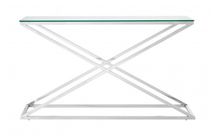 Criss Cross Console Table Clear Tempered Glass Stainless Steel Frame
