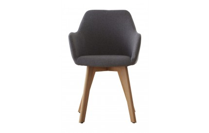 Greece Chair Grey Fabric Beech Wood Legs
