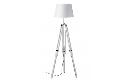 Martino Floor Lamp White Wood / Chrome White Fabric Shade / EU Plug