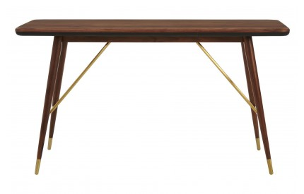 Kenso Console Table Walnut Wood / Brass Finish Black Leather